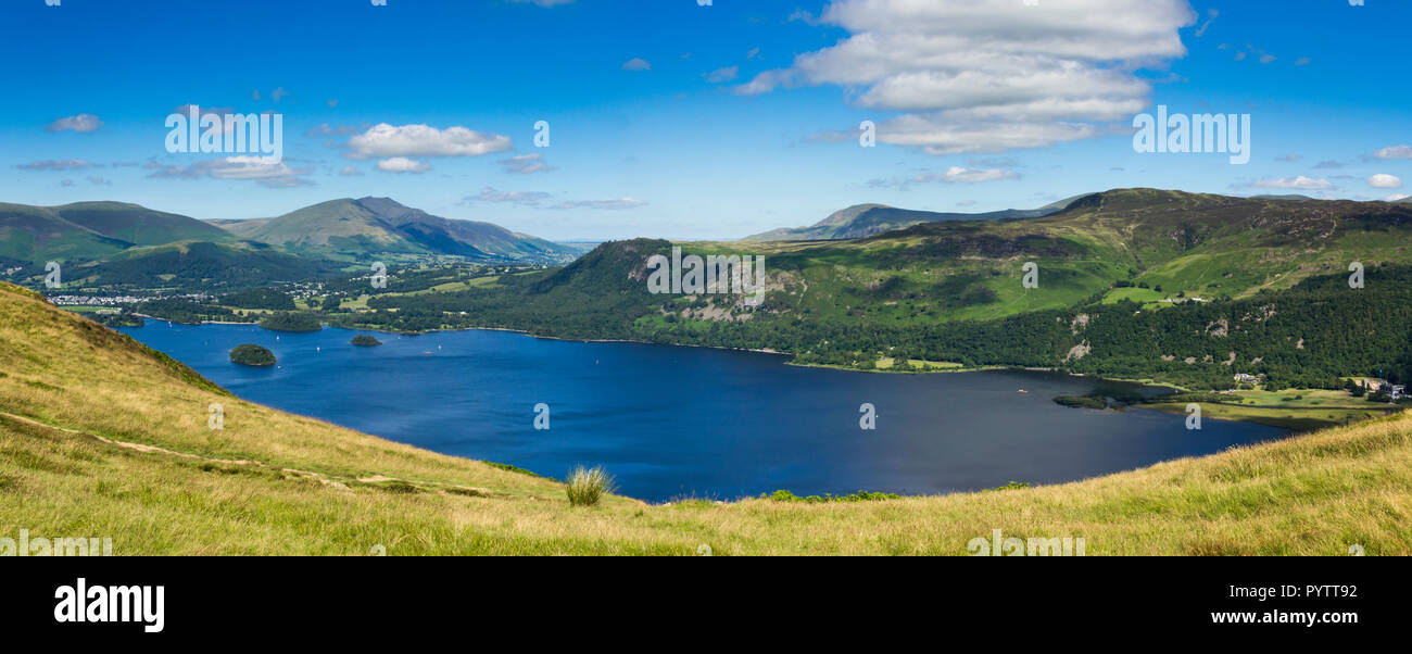 Derwent Water and Keswick in the English Lake District, viewed from Catbells.  In the distance is Blencathra  and to the right is Castlerigg fell. - Stock Image