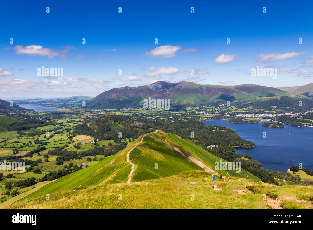The well-worn footpath across Skelgill bank  leading to the summit of  Cat Bells (451 metres) near Keswick, Cumbria. Stock Photo