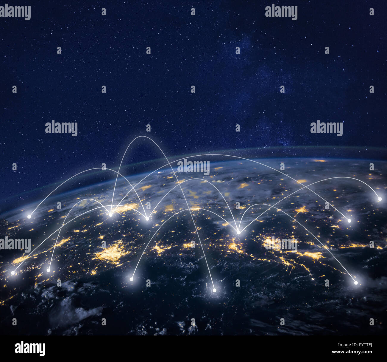 network connection technology, global business communication, planet image from NASA - Stock Image