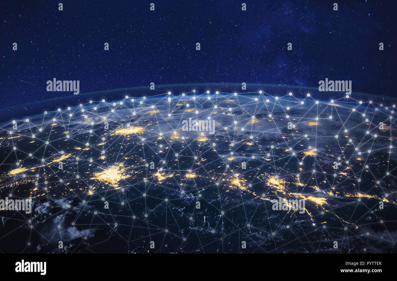 information technology and telecommunication, global network concept, planet Earth from space, business communication worldwide, original image furnis - Stock Image