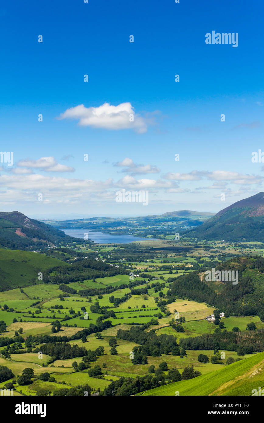 Newlands valley Cumbria, looking north towards the distant Bassenthwaite Lake from the summit of Cat Bells. Stock Photo