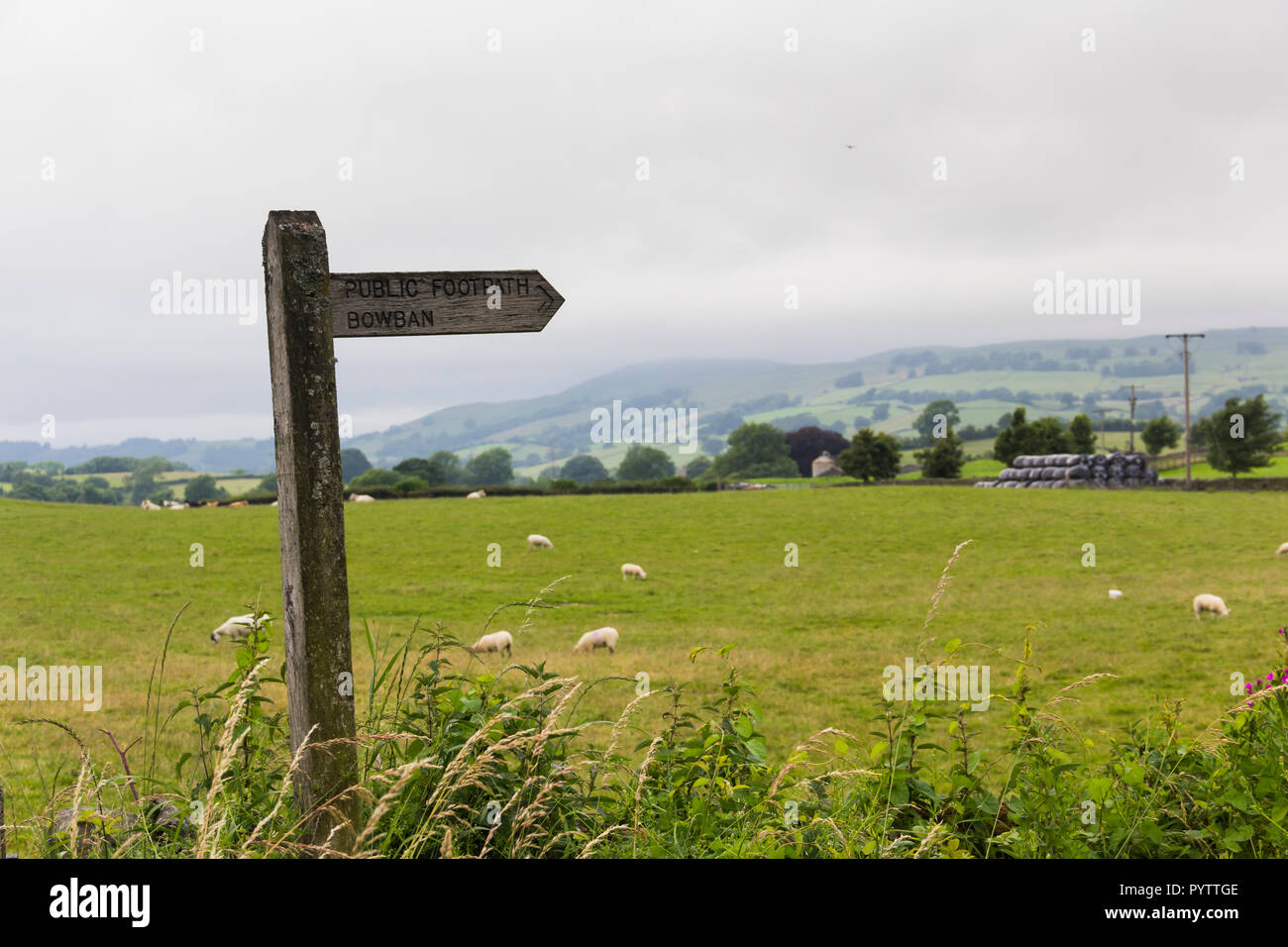 Public footpath sign leading off Shap Road, the A6 road, north-east of Kendal. The sign is labelled Bowban in error, it should read Bowbank. - Stock Image