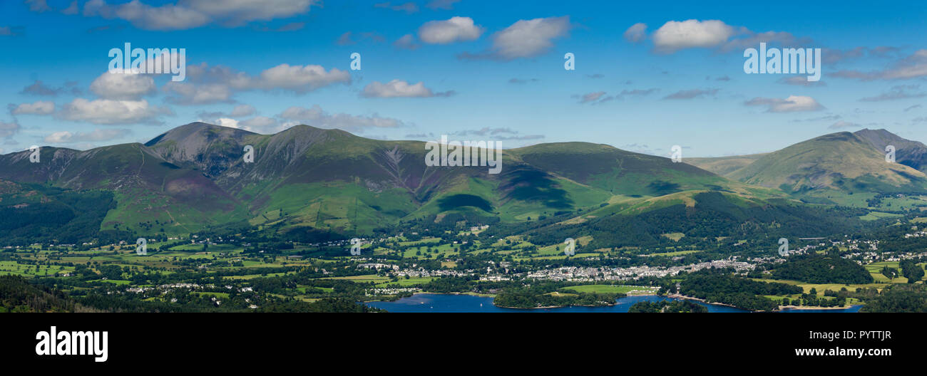 Derwent Water and Keswick overlooked by Skiddaw and distant Blencathra in the Lake District, viewed from the summit of Catbells (451m/1,480 ft). Stock Photo