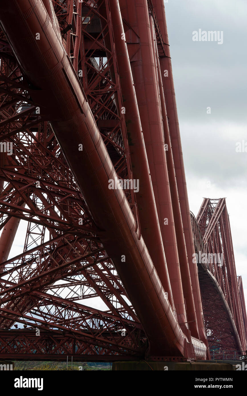 Closeup of the Cantilever Structures of the Forth Rail Bridge from North Queensferry Fife Scotland United Kingdom UK - Stock Image