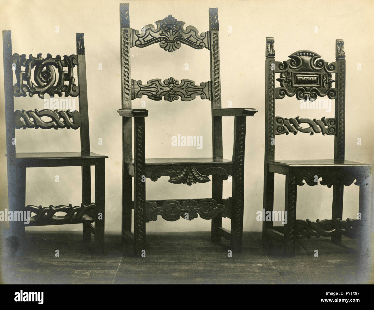 Chairs from the seventeen century, Lucca, Italy 1930s - Stock Image