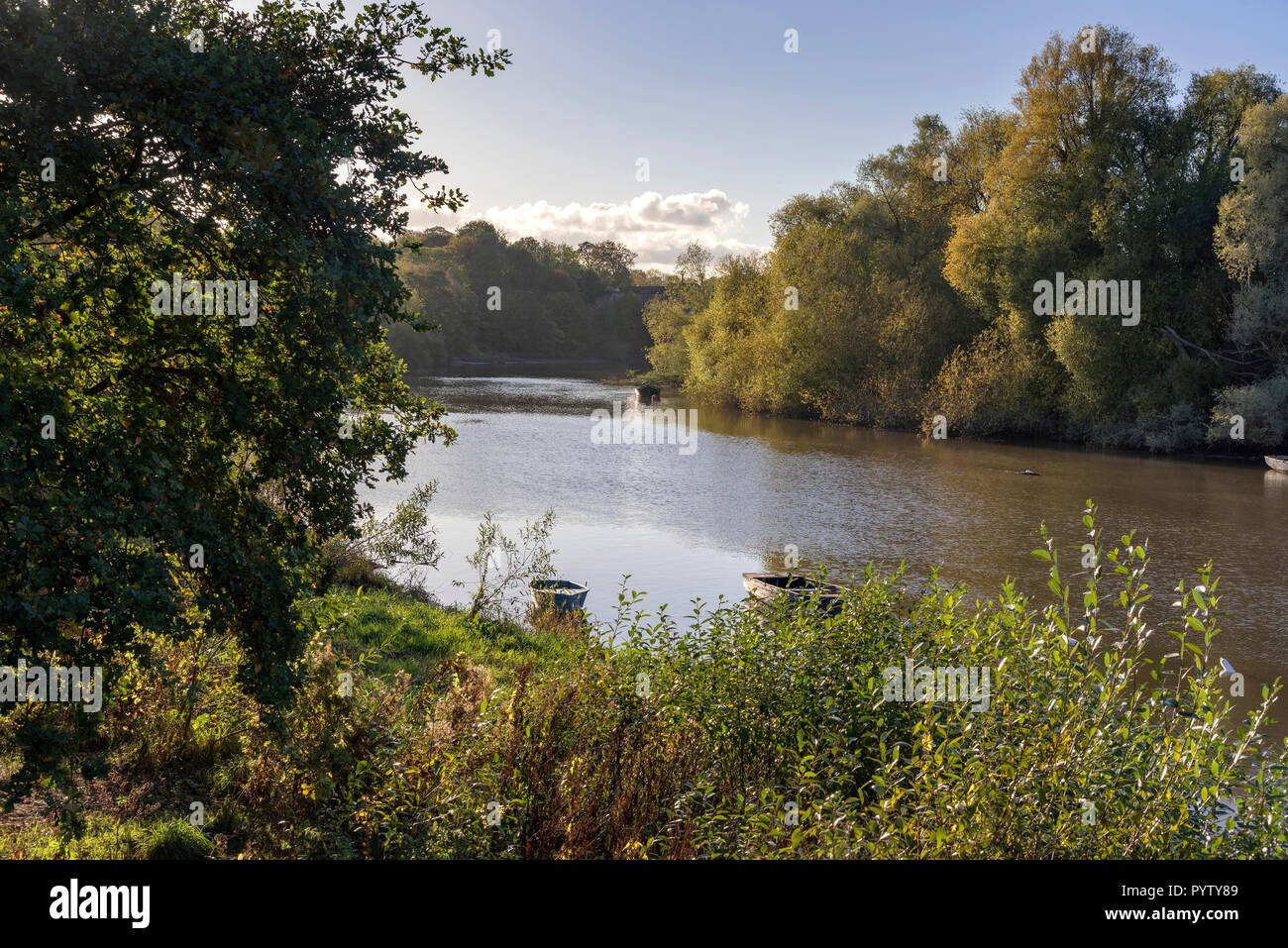 Chester North West England. River Dee tidal reach. - Stock Image