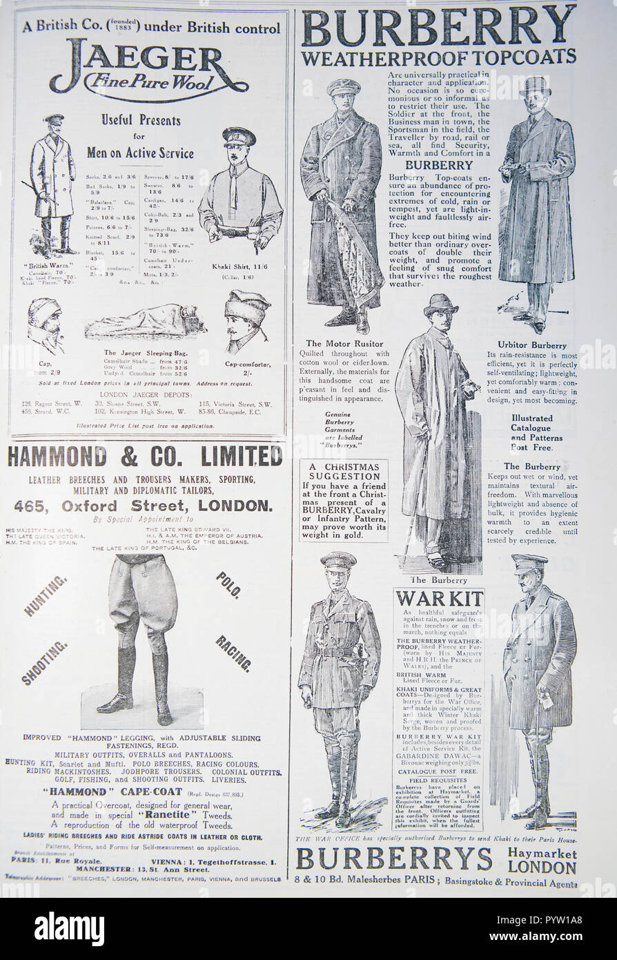 First World War Adverts Stock Photos Trench Diagram Ww1 Old Advert For Clothing During The From A British Magazine