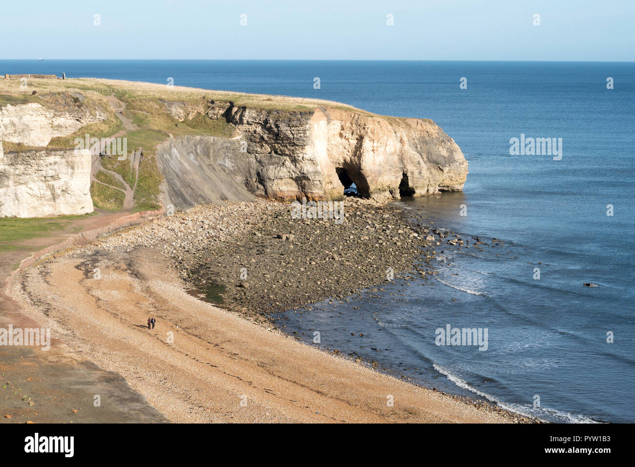 Noses Point at the north end of Blast Beach, Seaham, Co. Durham, England, UK - Stock Image