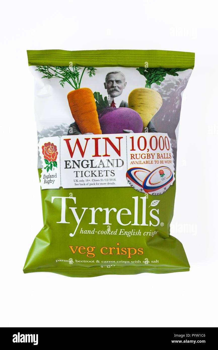 Packet of Tyrrells veg crisps hand-cooked English crisps isolated on white  background - parsnip 143bc33c1