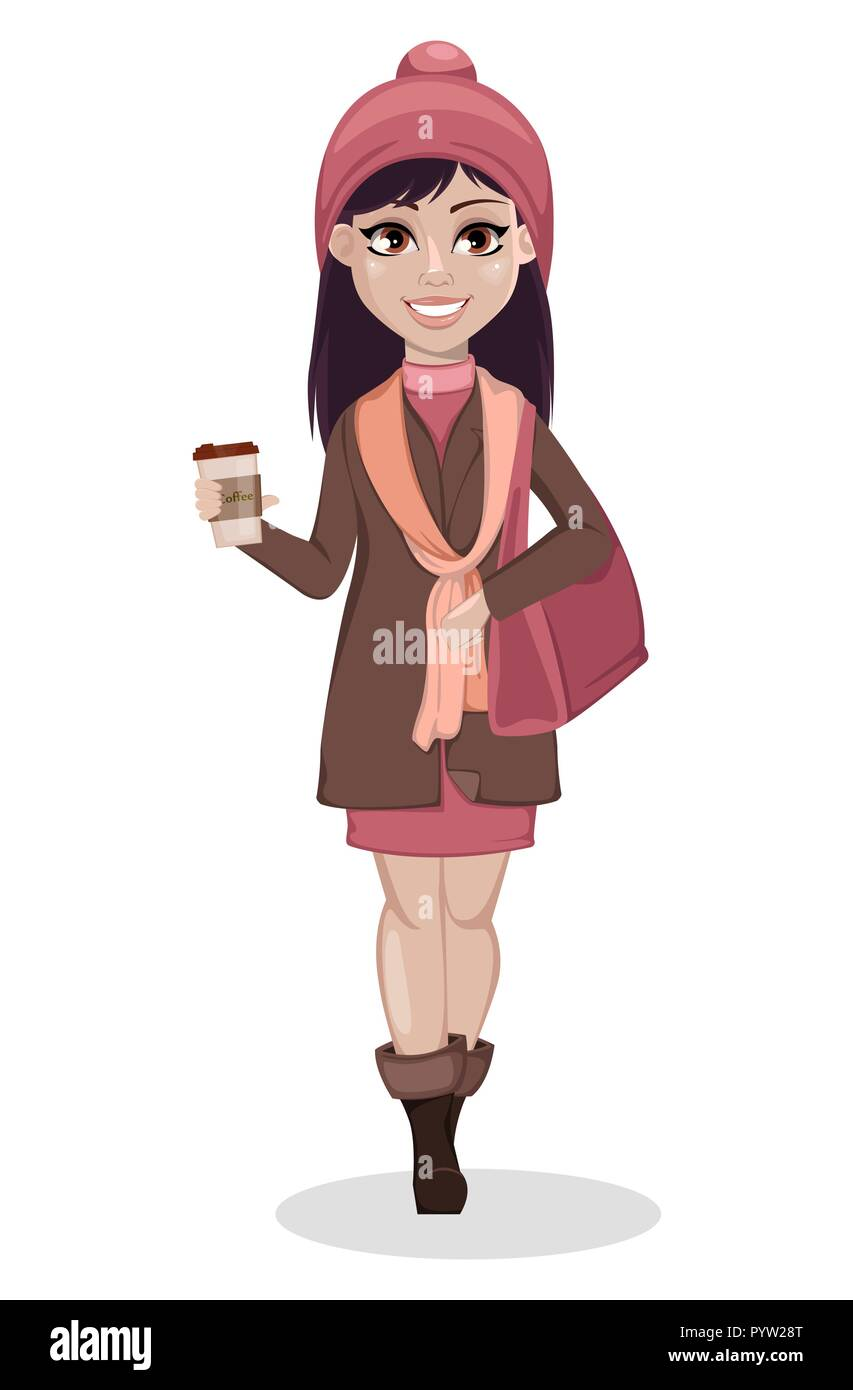 Beautiful Girl Cartoon Character Cute Woman With Purse And Coffee Vector Illustration Isolated On White Background Stock Vector Image Art Alamy