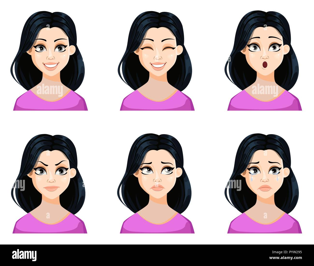 Face Expressions Of Beautiful Woman With Dark Hair And Cute