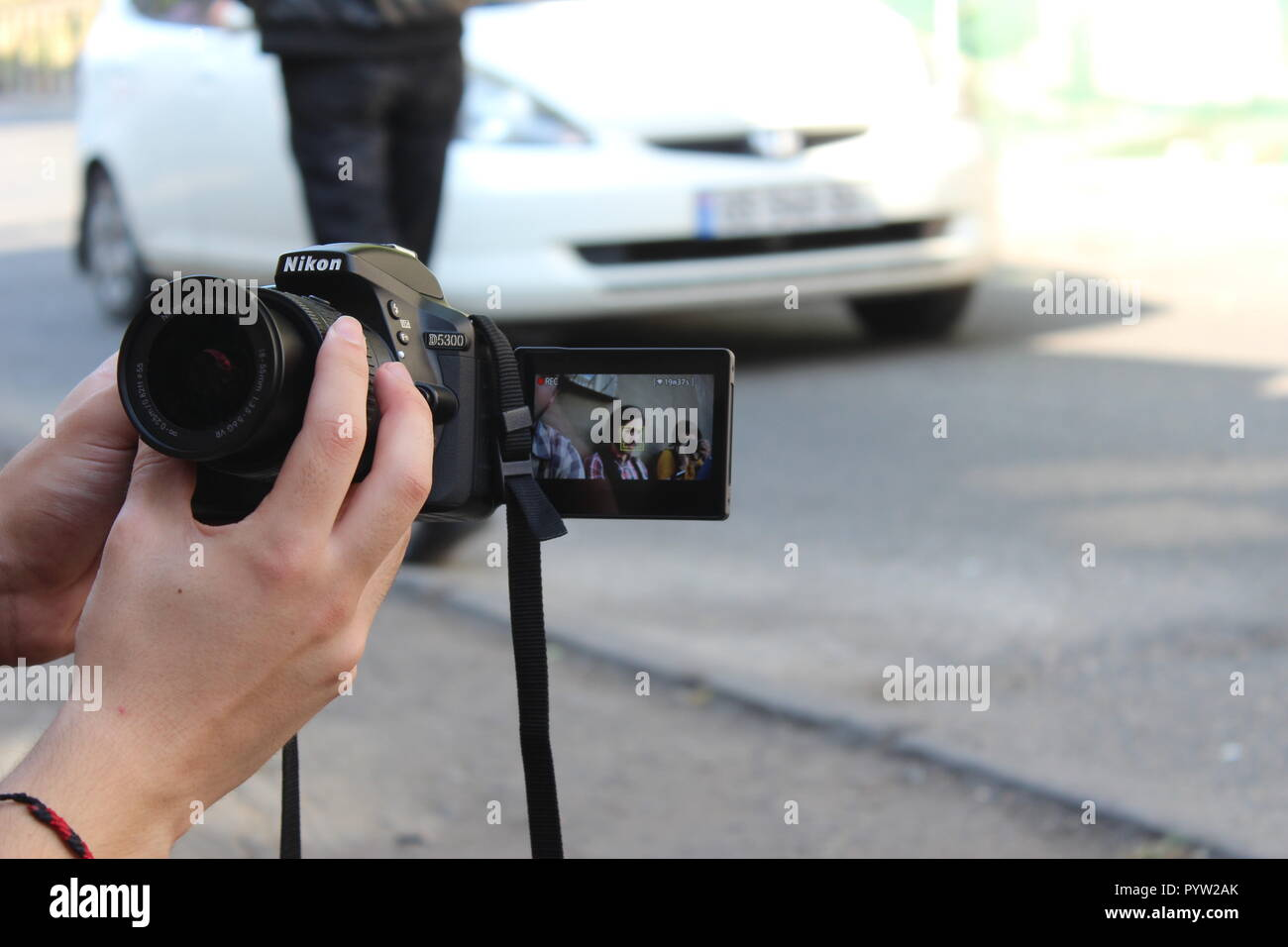 selfie with camera - Stock Image