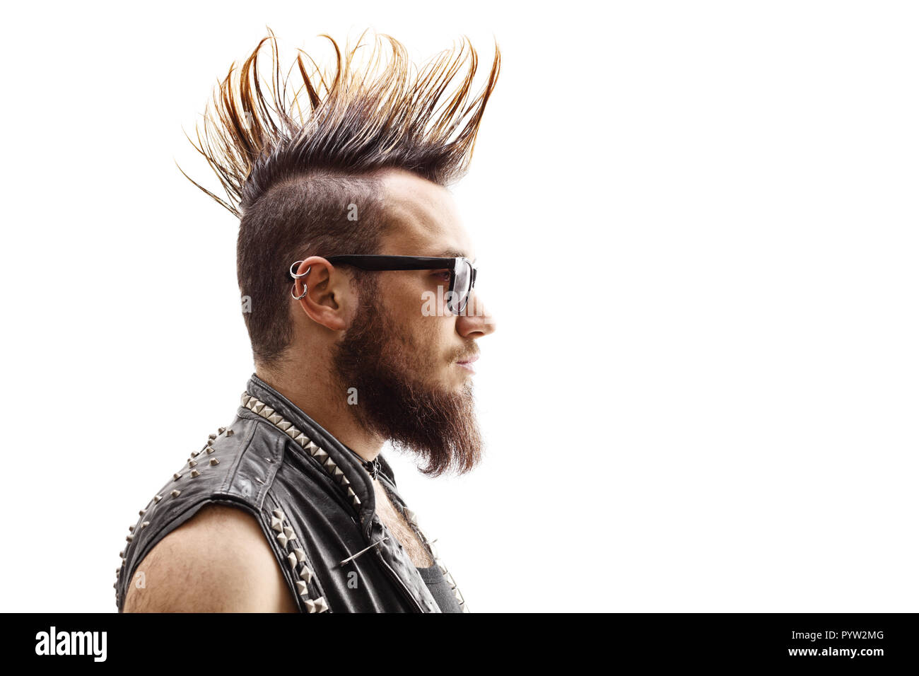 Profile Face Shot Of A Male Punker With Mohawk Hairstyle Isolated On