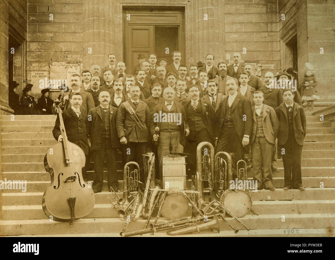 Musical brass band Harmonie Bazas, France 1902 - Stock Image