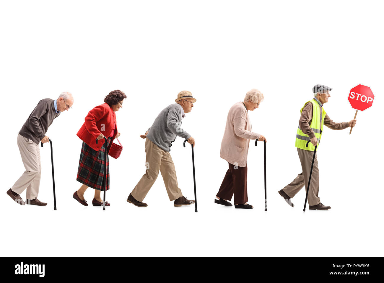 Full length shot of senior people walking in a line behind an elderly man with a safety vest and stop sign isolated on white background - Stock Image