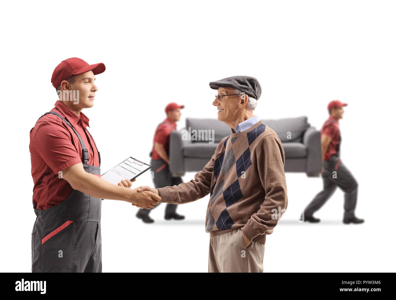 Senior man shaking hands with a mover, movers carrying a couch in the back isolated on white background Stock Photo