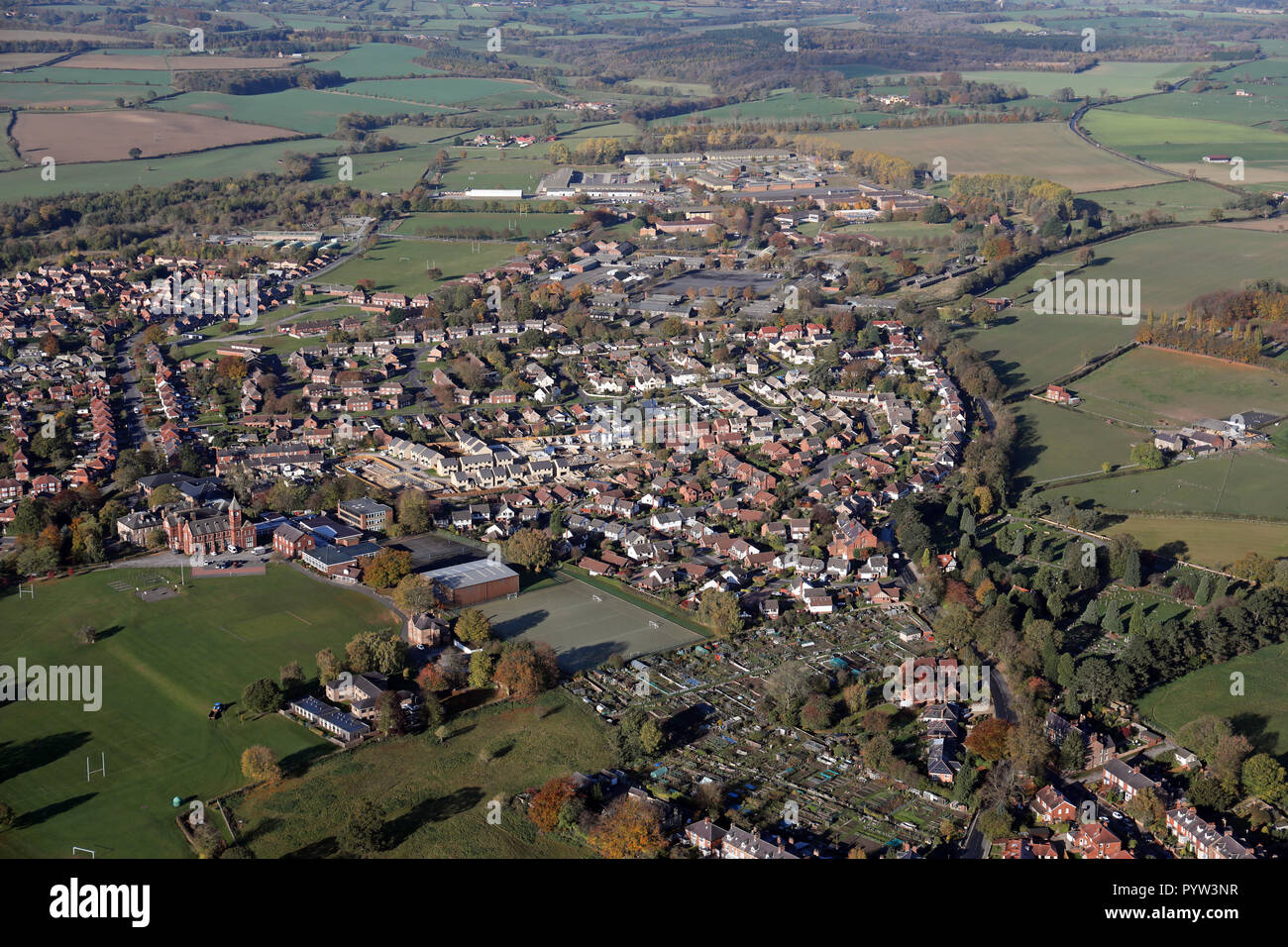 aerial view of Ripon looking north west along the Kirkby Road including the Grammar School and former army barracks, North Yorkshire - Stock Image