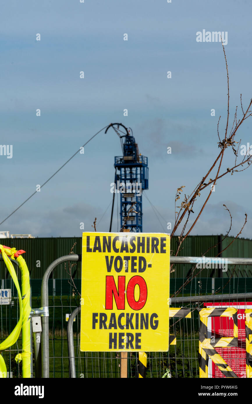 Blackpool, UK. 30th. October 2018: Calls from Labour councillors to suspend fracking at Cuadrillas Preston New Road shale gas site near Blackpool  due to the number of earth tremors occured in the two weeks since Cuadrilla commenced fracking operations. Over 30 tremors have been recorded up to a magnitude of 1.1 on the Richter Scale which a group of labour councillors state is of concerned to local residents. Credit: Dave Ellison/Alamy Live News - Stock Image