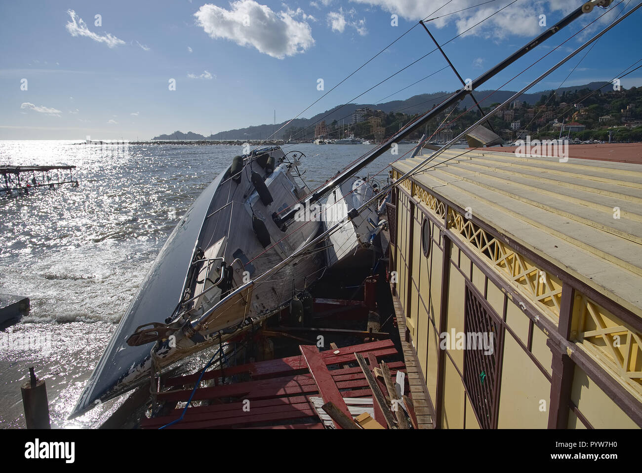 Rapallo, Italy 30th October 2018 Boats and yachts destroyed by the sea Storm damage from the Ligurian Sea - Rapallo - Italy Credit: Claudio Bruni / Alamy Live News - Stock Image