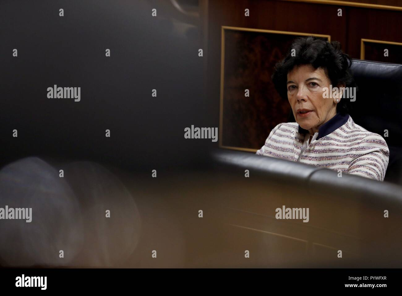 Madrid, Spain. 31st Oct, 2018. Spanish Education Minister, Isabel Celaa, attends question time at Parliament in Madrid, Spain, 31 October 2018. Credit: Javier Lizon/EFE/Alamy Live News - Stock Image