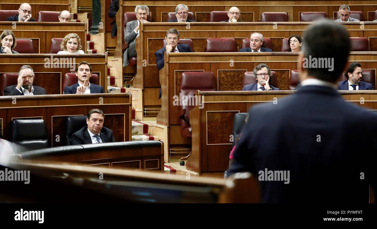 Madrid, Spain. 31st Oct, 2018. Spanish Prime Minister, Pedro Sanchez, delivers a speech during question time at Parliament in Madrid, Spain, 31 October 2018. Credit: Mariscal/EFE/Alamy Live News - Stock Image