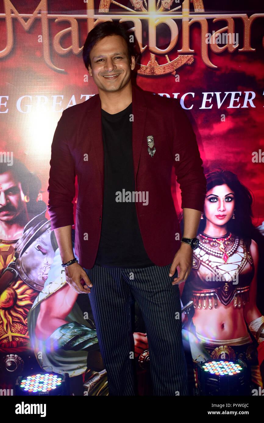 Indian film actor Vivek Oberoi seen posing at radio station FEVER FM's show 'Mahabharat' success event at hotel Lalit in Mumbai. - Stock Image