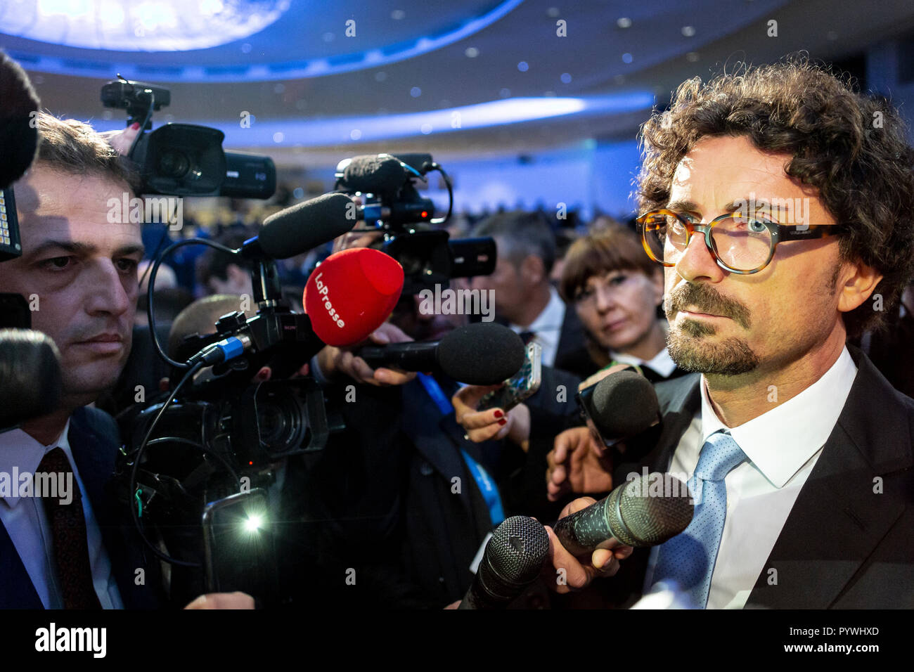 Rome, Italy. 31st Oct, 2018. Public Assembly of Confitarma with the participation of the Minister of Infrastructures and Transport Danilo Toninelli. Deputy Minister Matteo Salvini is among the guests in the hall. Outside, a delegation of shipowners asked to speak with Minister Toninelli. (Italy, Rome, 31 October 2018) Credit: Independent Photo Agency/Alamy Live News - Stock Image