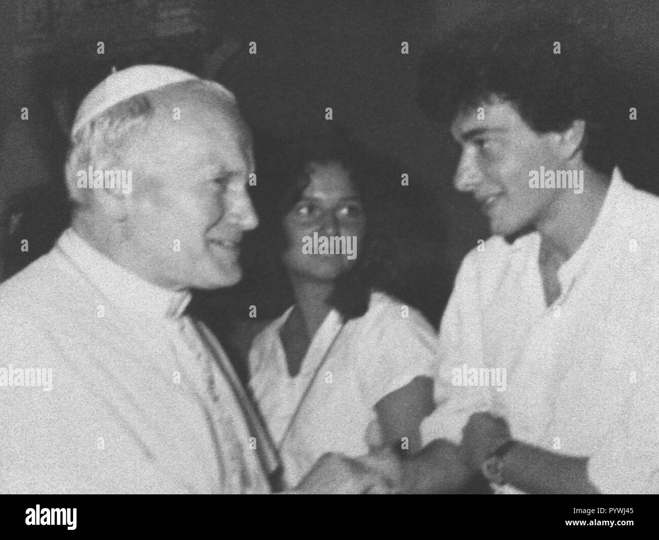 Rome, Pietro Orlandi, brother of Emanuela, the girl kidnapped 28 years ago and never found again. In the picture Pietro Orlandi with Pope John Paul II *** PRICE TO BE AGREED *** (FT/Rome/IPA, Rome - 2013-10-24) ps the photo can be used respecting the context in which it was taken, and without the defamatory intent of the decorum of the persons represented (FT/Roma/IPA, PHOTO ARCHIVE - 2018-10-31) p.s. la foto e' utilizzabile nel rispetto del contesto in cui e' stata scattata, e senza intento diffamatorio del decoro delle persone rappresentate - Stock Image