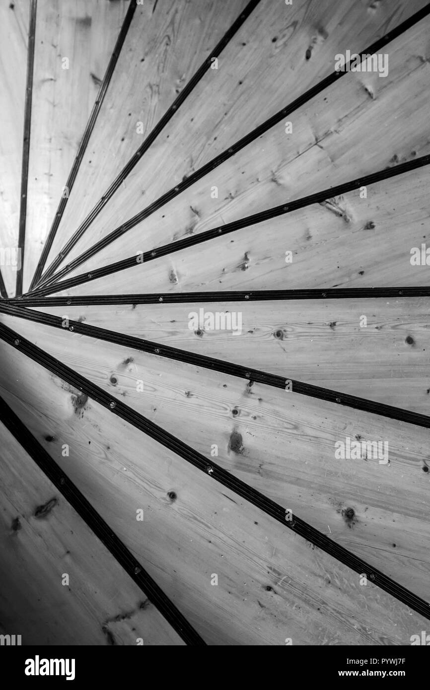 Spiral wooden staircase in an old Swedish farm in northern Sweden - Stock Image