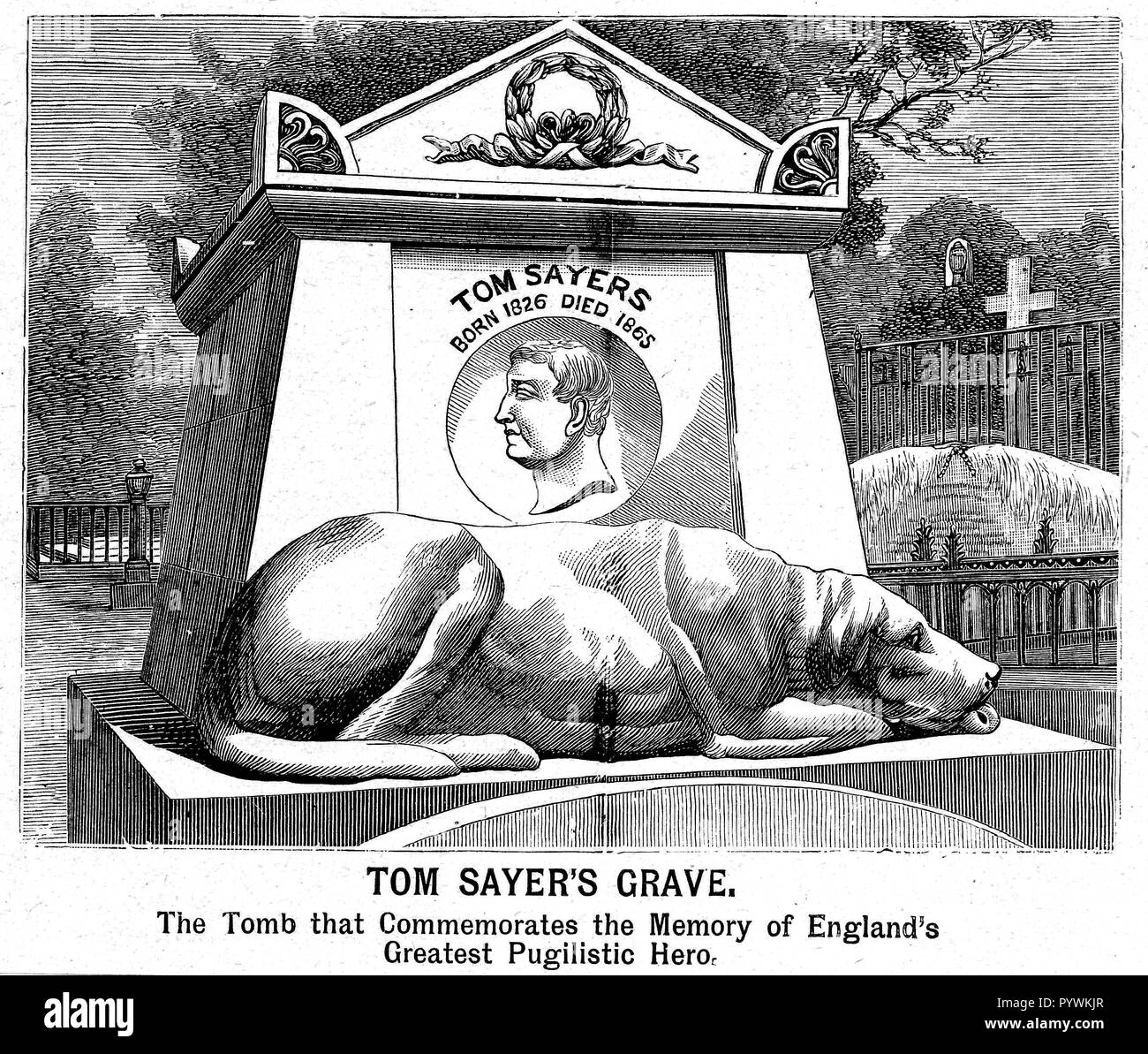Illustration of the grave of Tom Sayers (1826-1865) British Bare Knuckle Boxing Champion, at Highgate Cemetery, London with statue of his dog, Lion. - Stock Image