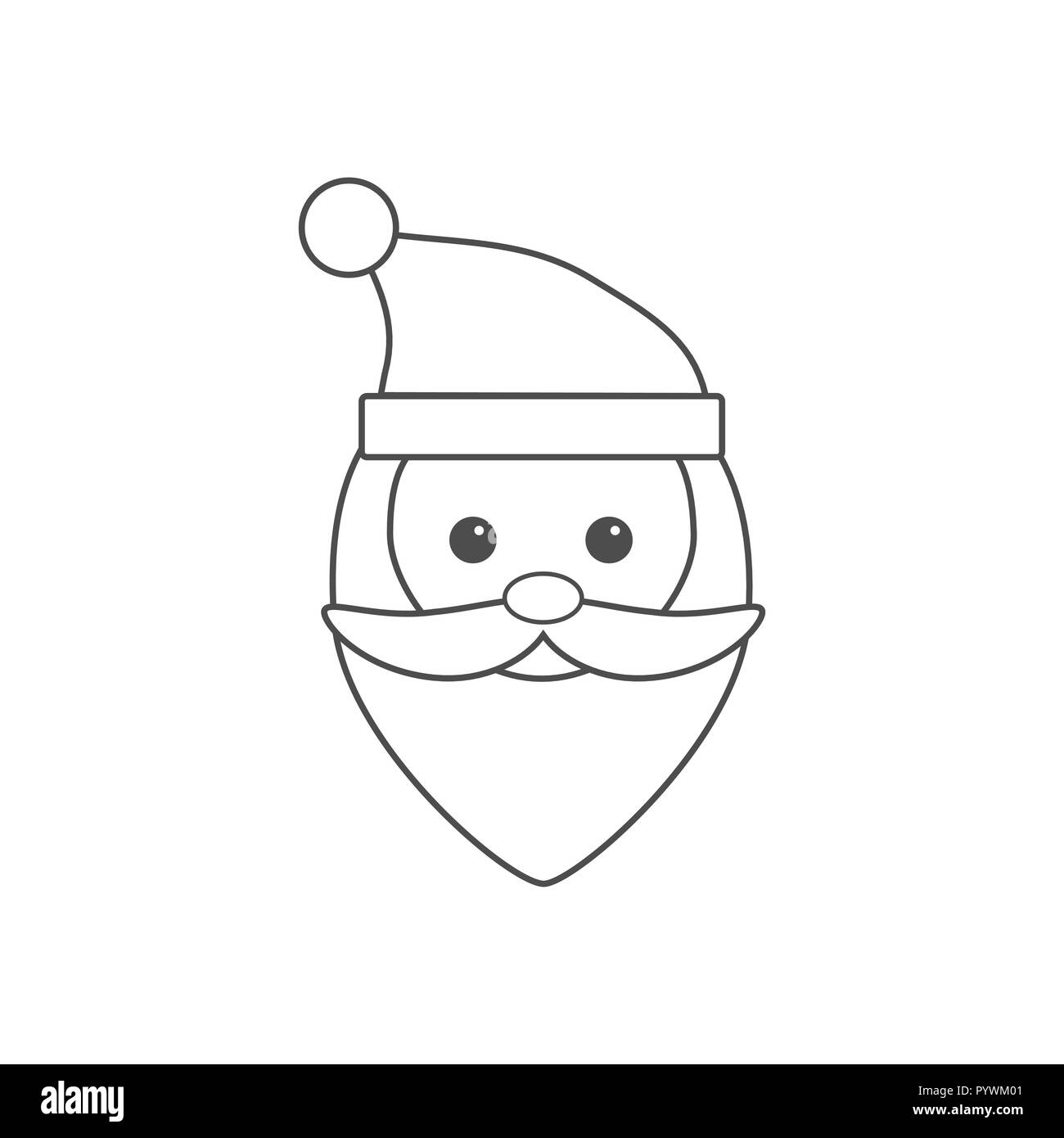 Cartoon Santa Claus Face Black and White Stock Photos & Images   Alamy
