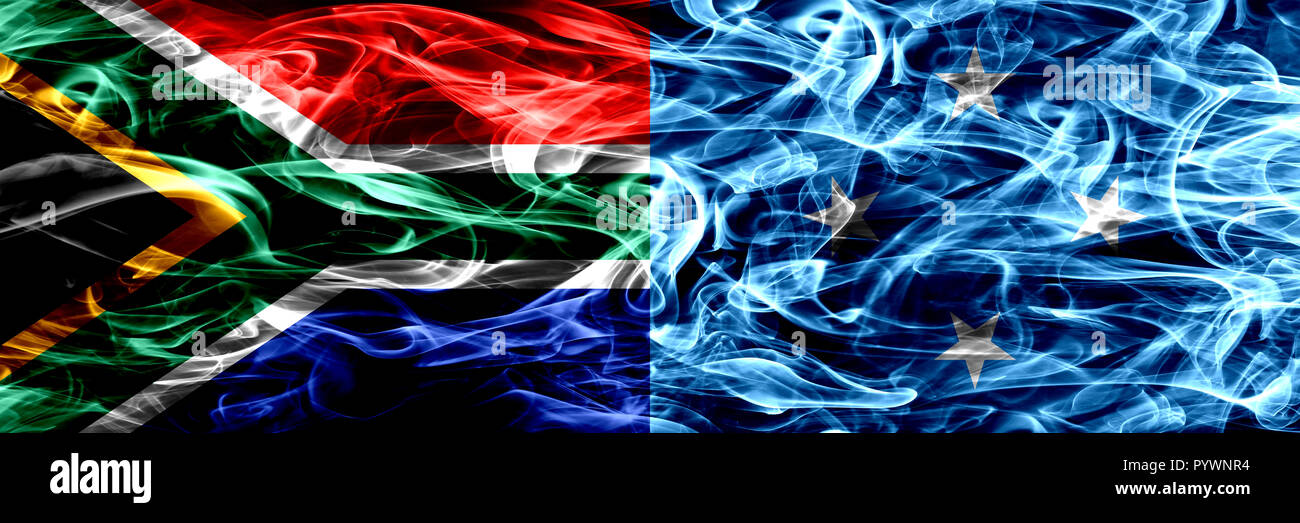 South Africa vs Micronesia, Micronesian smoke flags placed side by side. Concept and idea flags mix - Stock Image