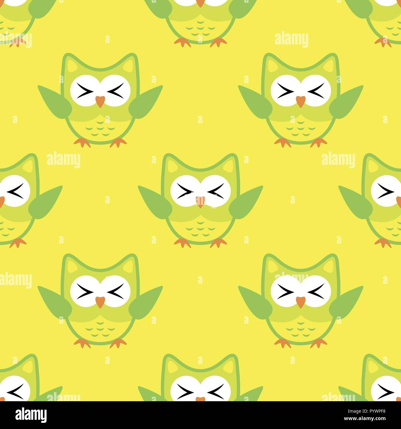 Owl stylized art seemless pattern yellow green colors - Stock Vector