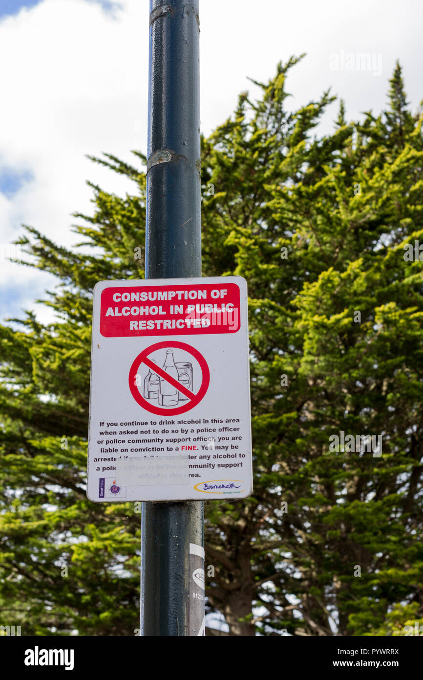 'Consumption of alcohol in public restricted' alcohol restricted area  warning notice sign, Bournemouth, Dorset, UK - Stock Image