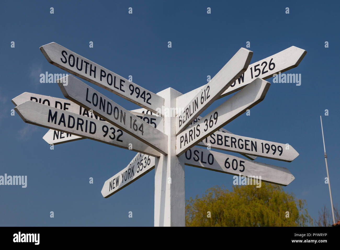 Signpost at Sherburn in Elmet airfield giving distances to locations around the world - Stock Image