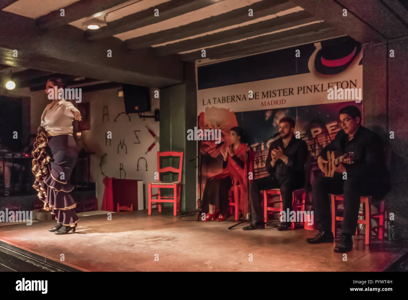 Madrid, Spain - flamenco is probably the most famous traditional music in Spain. Here in particular, a flamenco gig in Old Town Madrid - Stock Image