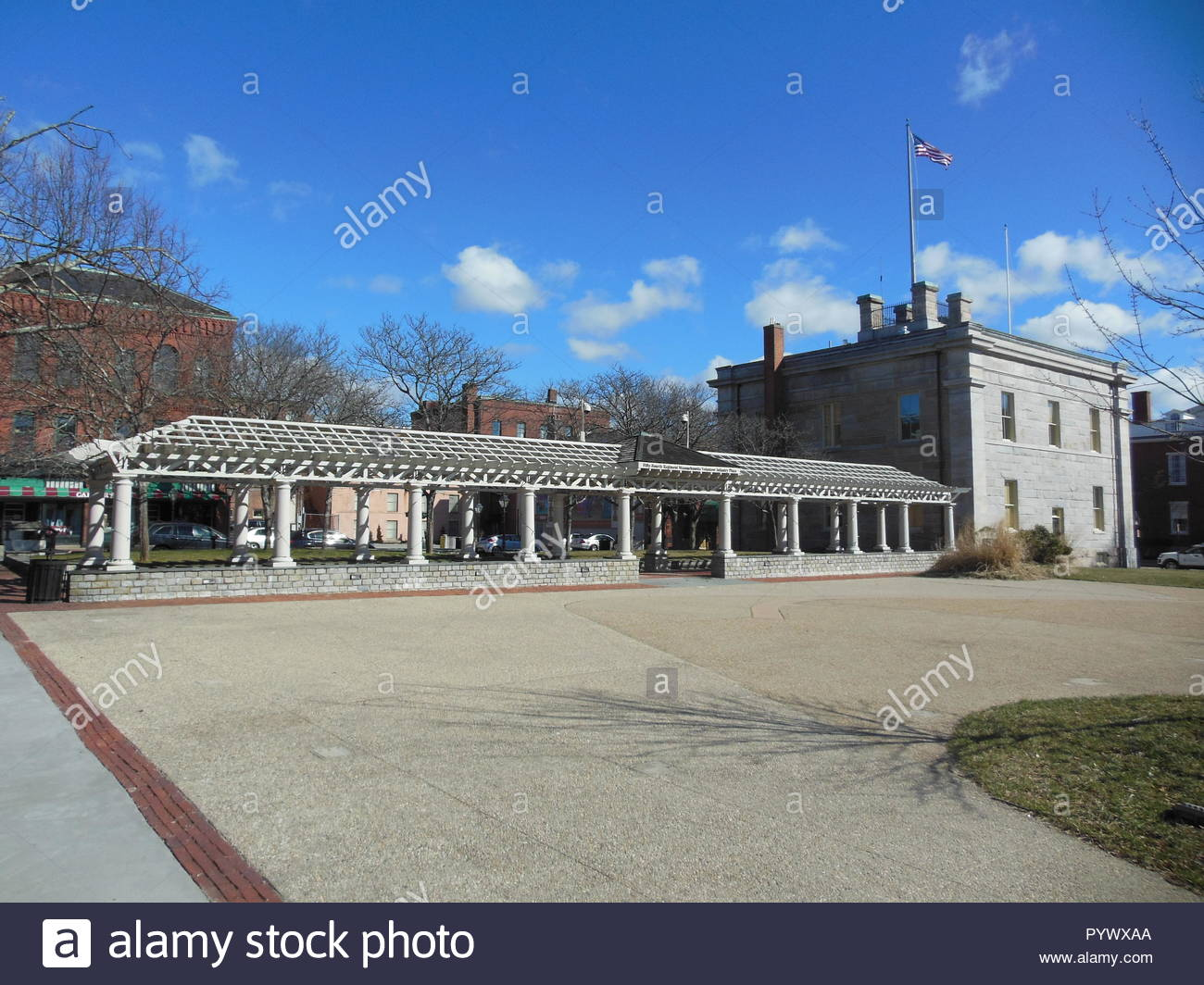 New Bedford, Massachusetts, USA - March 10, 2018: Fifty-Fourth Regiment Massachusetts Volunteer Infantry Plaza at Custom House Square Stock Photo
