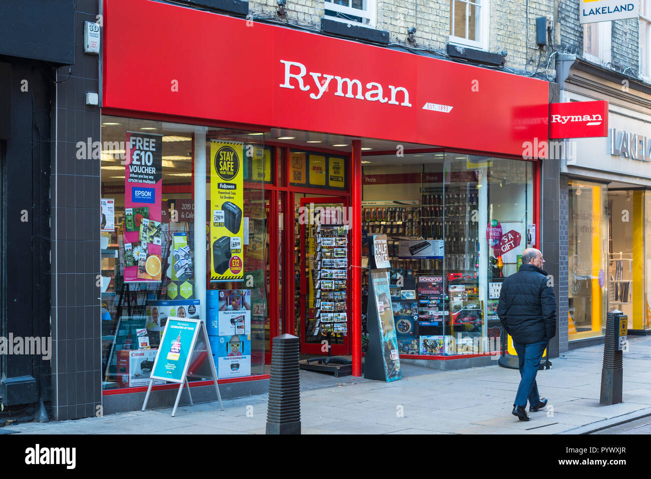 Rymans store specialising in stationary and office equipment. Store shown is in Cambridge, UK. - Stock Image