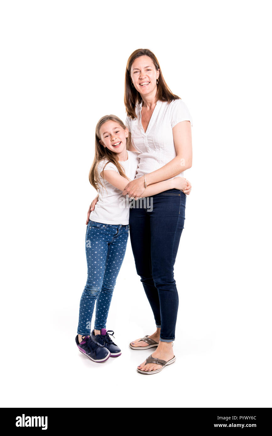 A girl with her mother, isolated on white background - Stock Image
