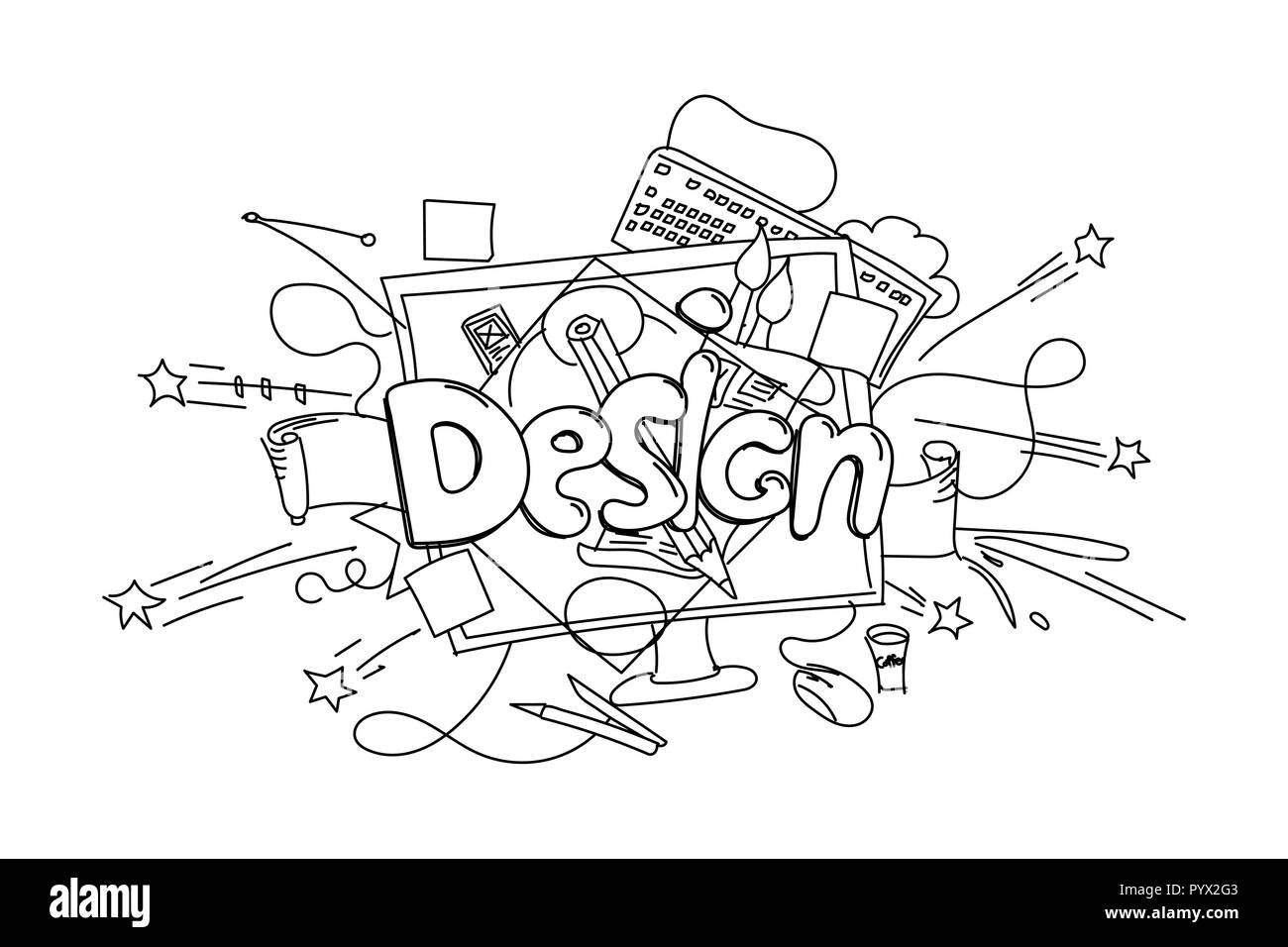 Design phrase. Vector hand drawn illustration isolated on white background Stock Vector