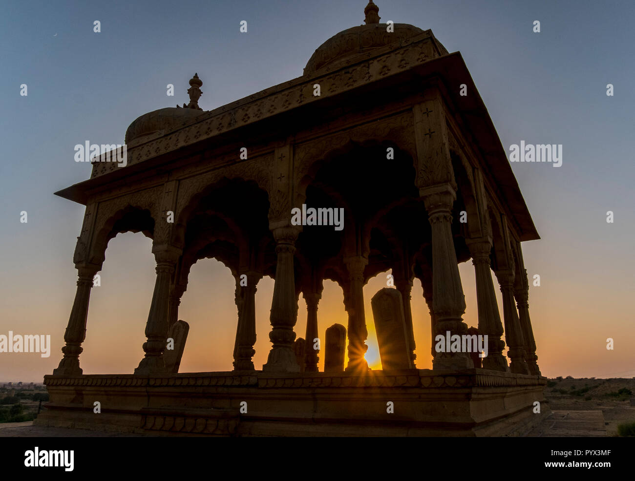 The royal cenotaphs of Bada Bagh, near Jaisalmer, India - Stock Image