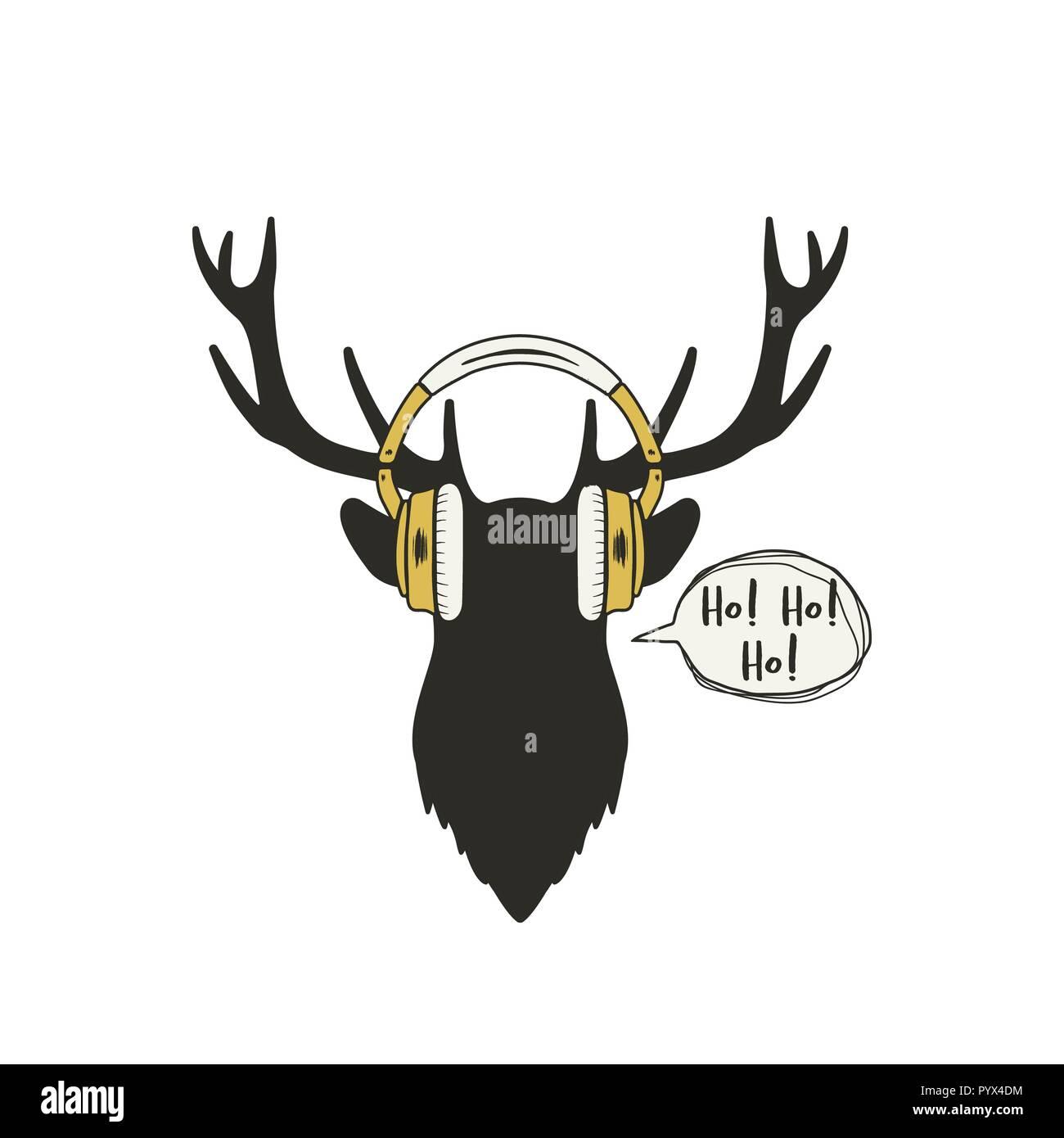 Vintage Hand Drawn Deer Head With Headphones Funny Silhouette Greeting Poster Reindeer Winter Holidays Emblem Stock Vector Illustration
