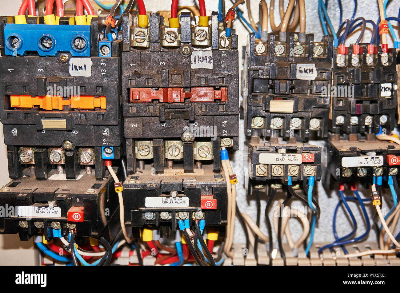 Electrical Relay Switch Stock Photos Normally Open Schematic Some Is Mounted On The Mounting Panel Relays Inserted In Base Or
