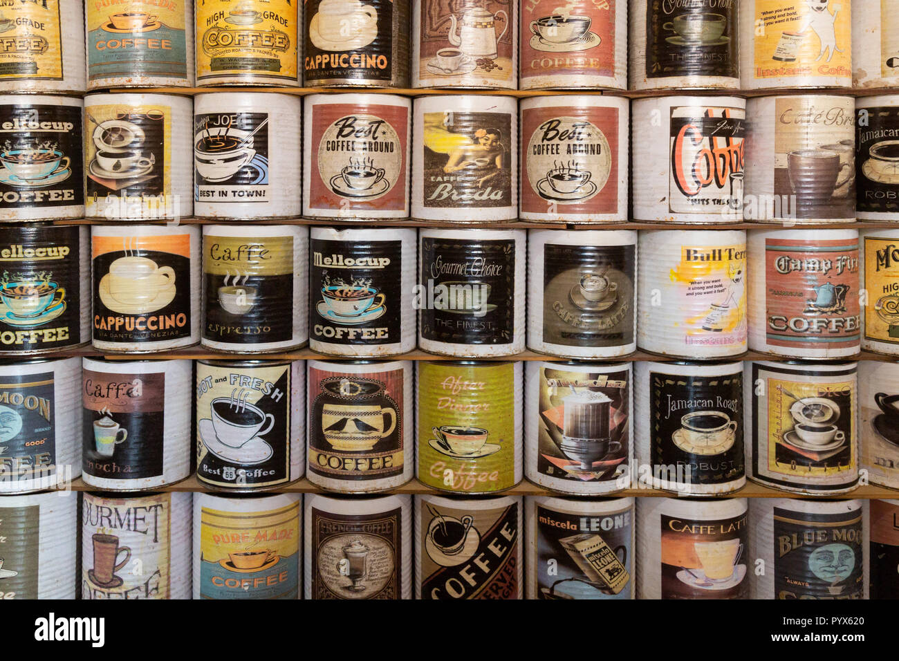 Old vintage coffee cans or tins of coffee, Namibia, Africa - Stock Image
