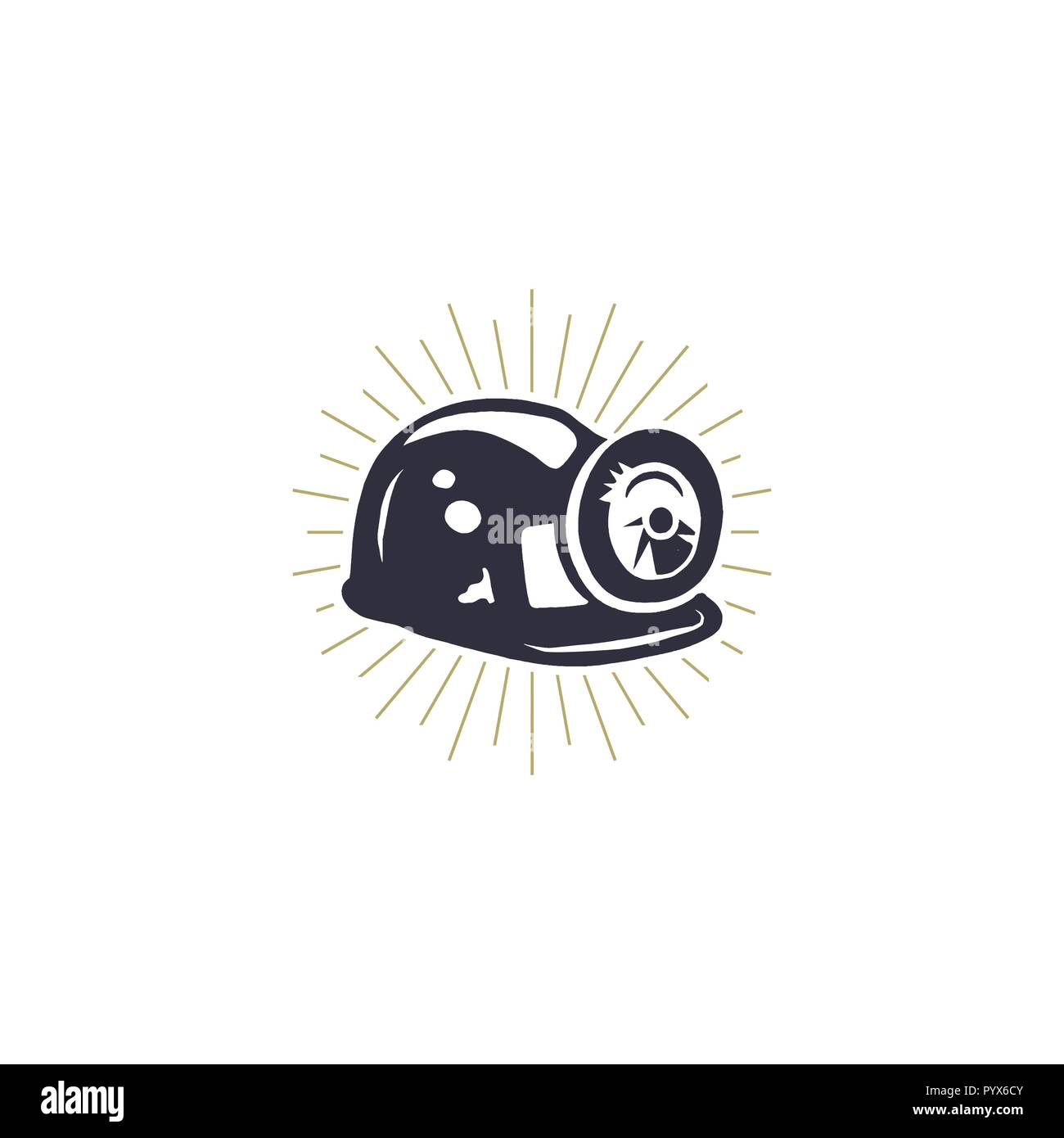 Retro Mining Helmet Icon with Built-in Light and Metal Brackets. Silhouette miner symbol. Stylish mine monochrome vector illustration. - Stock Vector