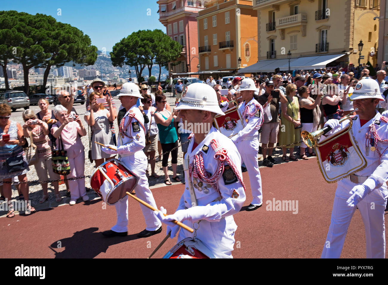 the changing of the guards at the royal palace in monaco - Stock Image