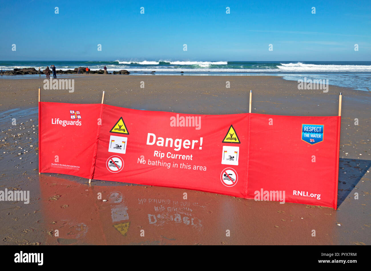 warning danger safety information sign no bathing rip current, porthtowan beach, cornwall, england, uk, - Stock Image