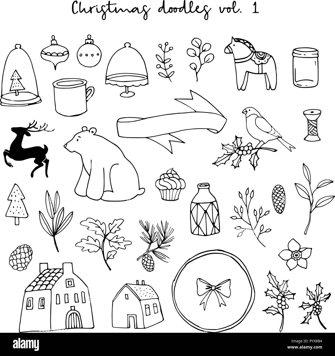 Christmas doodle icons set. Black isolated sketches on white background. Animal, floral, houses and lifestyle vector illustrations. - Stock Image