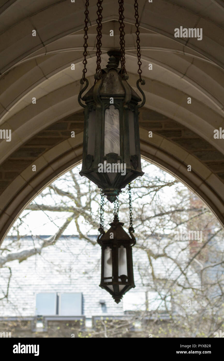 Princeton new jersey april 14 2017 details of some of the light fixtures hanging in the arches at princeton univeristy