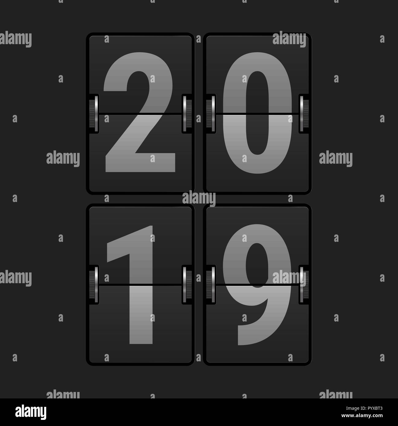 2019 Numbers Airport Display. Christmas Greeting Card Template. Merry Christmas, Happy New Year Design Elements. Resource for Creating Postcards, Cale - Stock Image